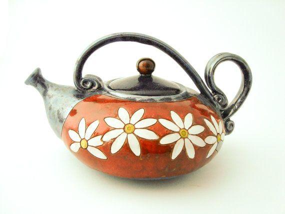 Flower Ceramic Teapot 40oz Stoneware Teapot Pottery Teapot Handmade Ceramic Teapots Ceramics And Pottery Teapot Ceramic Teapots Stoneware Teapot Tea Pots