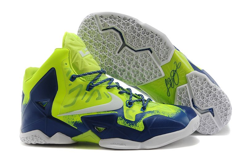 Good Nike Zoom Lebron 11 Men Shoes Online Sale Green Blue at Lowest Price