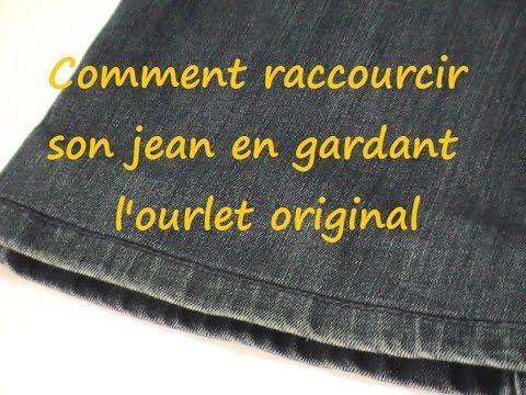 Astuce couture   Comment raccourcir son jean en gardant l ourlet original -  YouTube b54ed759f5fd