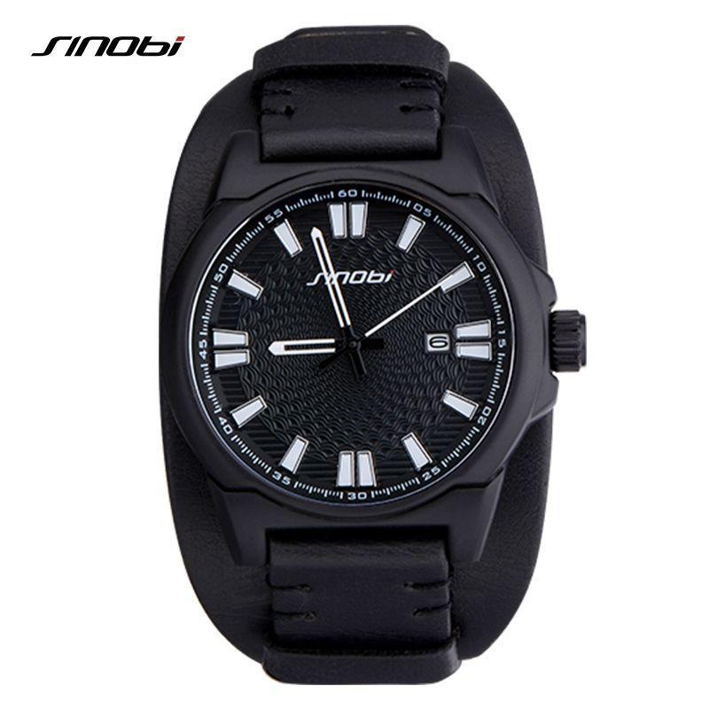 f464046f9a4 Barato Couro Mens Relógios SINOBI Marca de relógios Mens Relógios Top Marca  de Luxo Militar Do