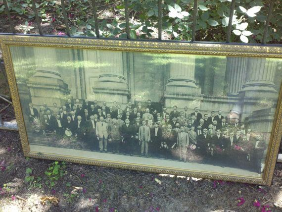 Antique original yard long photo 1920 men