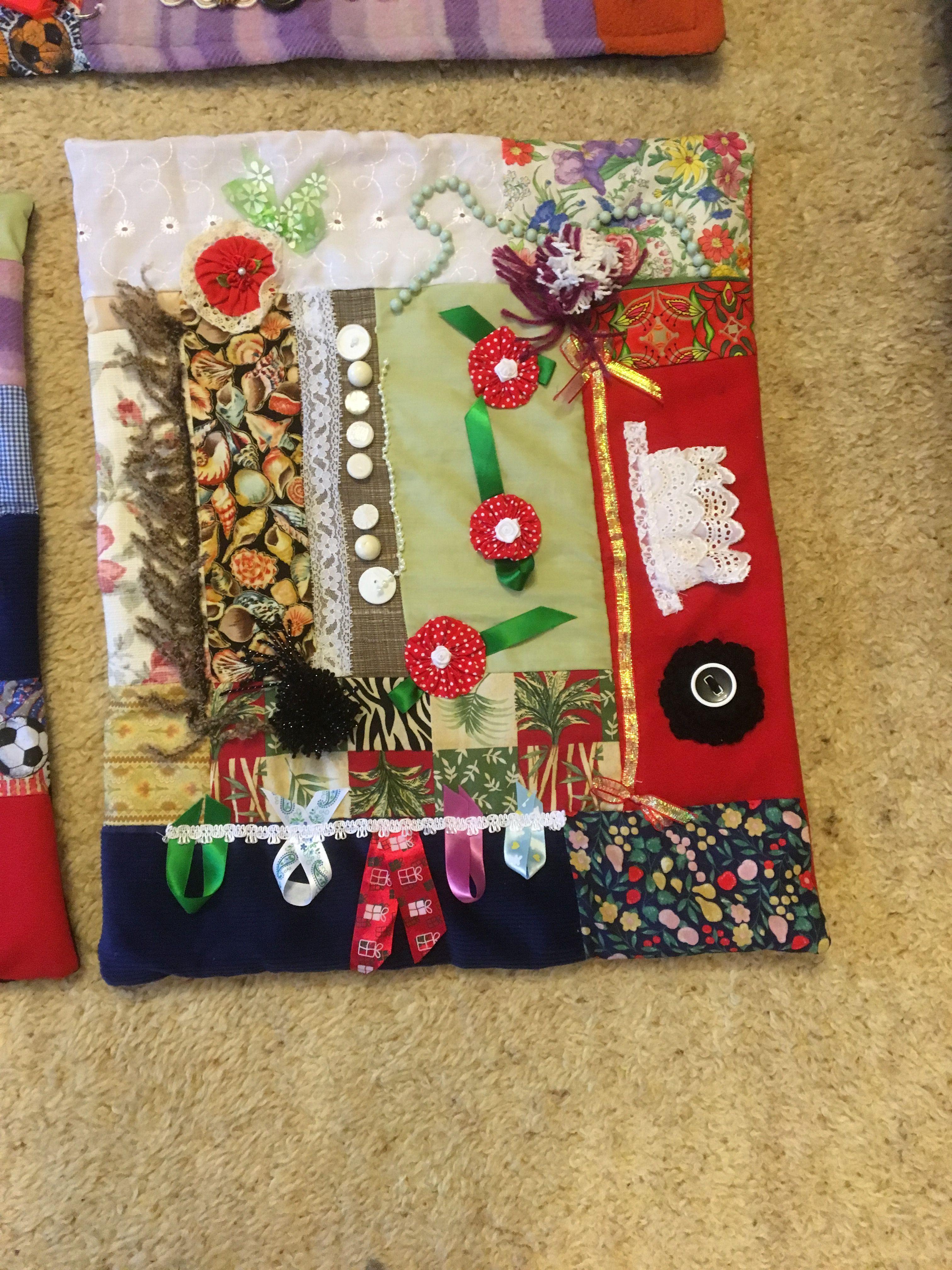 Another Twiddle Mat Made By My Friend Sophia Fidget Quilt Fidget Blankets Sensory Blanket