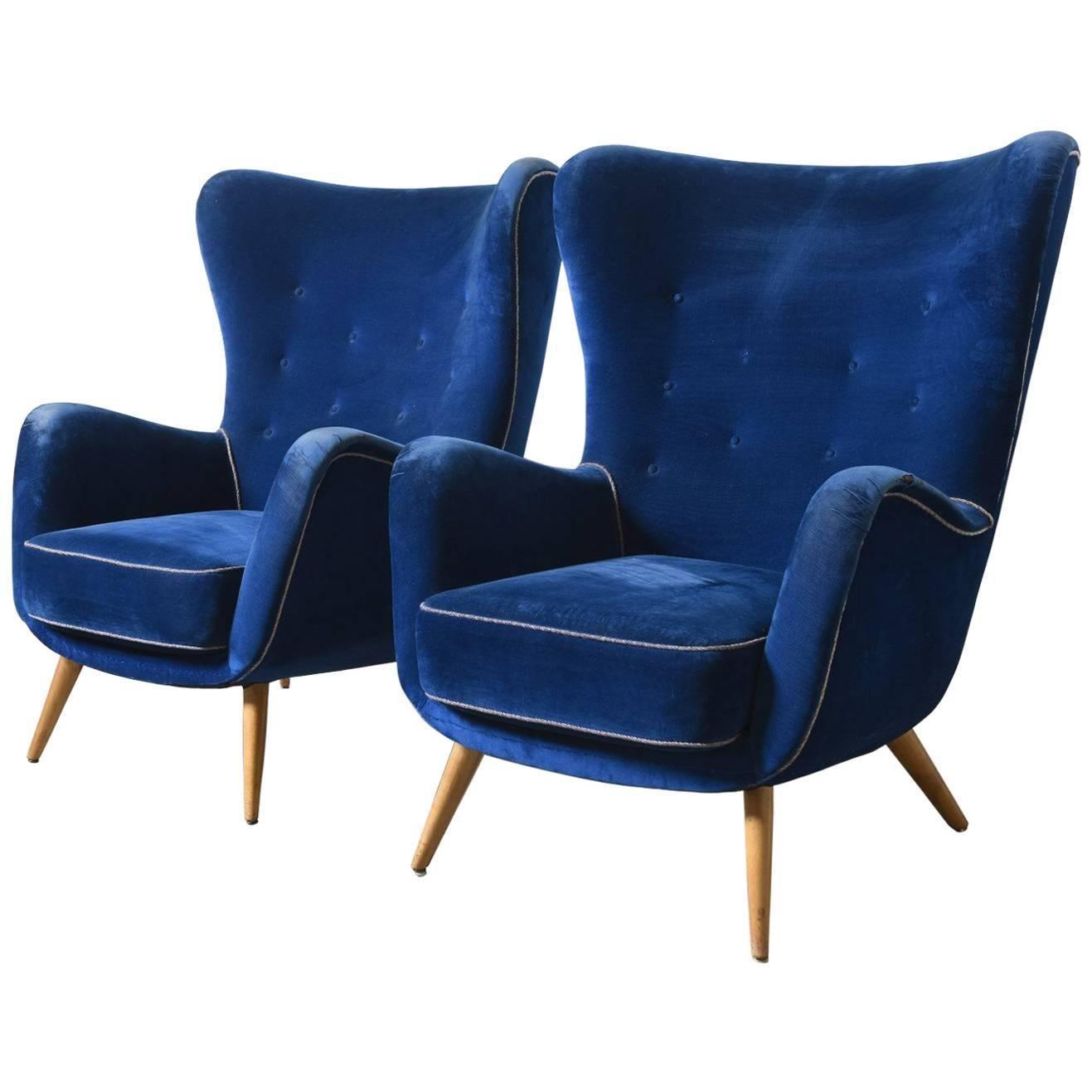 Set Of Two Large Italian Blue Velvet Wing Back Easy Chair By