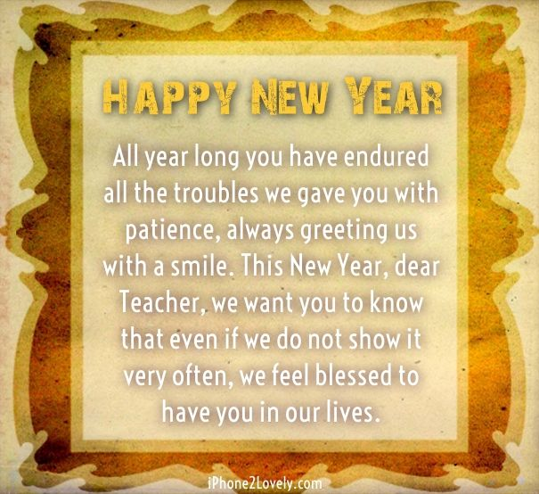 new year message for teacher