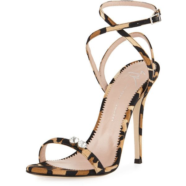 adf076cabec Giuseppe Zanotti Leopard-Print Grosgrain Sandal ( 845) ❤ liked on Polyvore  featuring shoes