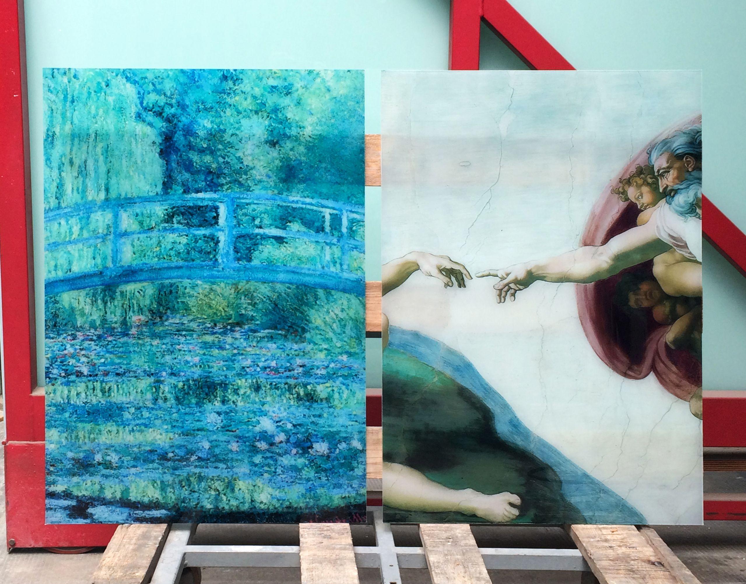 Riproduzione di quadri famosi su vetro stratificato di sicurezza ...