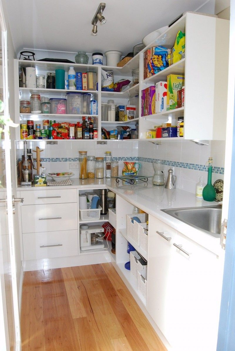 White Kitchen Walk In Pantry Design White Cabinet And Laminate Flooring With Extra Sink Built In Pantry Pantry Design Pantry Plans