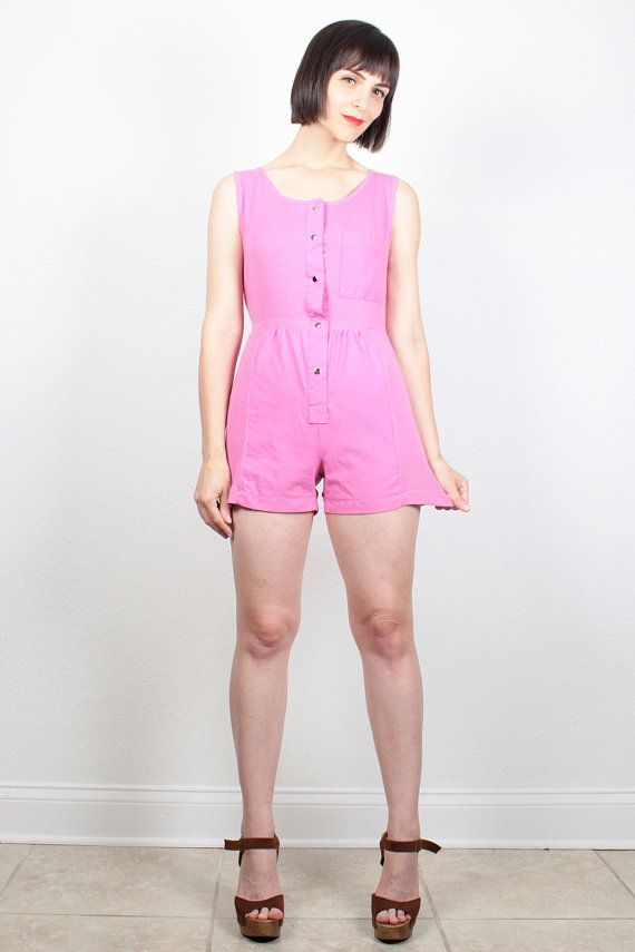 f27466dbad0 Vintage Pink Romper 1980s Playsuit Ribbed Overall Shorts Jumper New Wave 80s  Romper Coveralls Shortalls Overalls Outfit One Piece S Small by ...