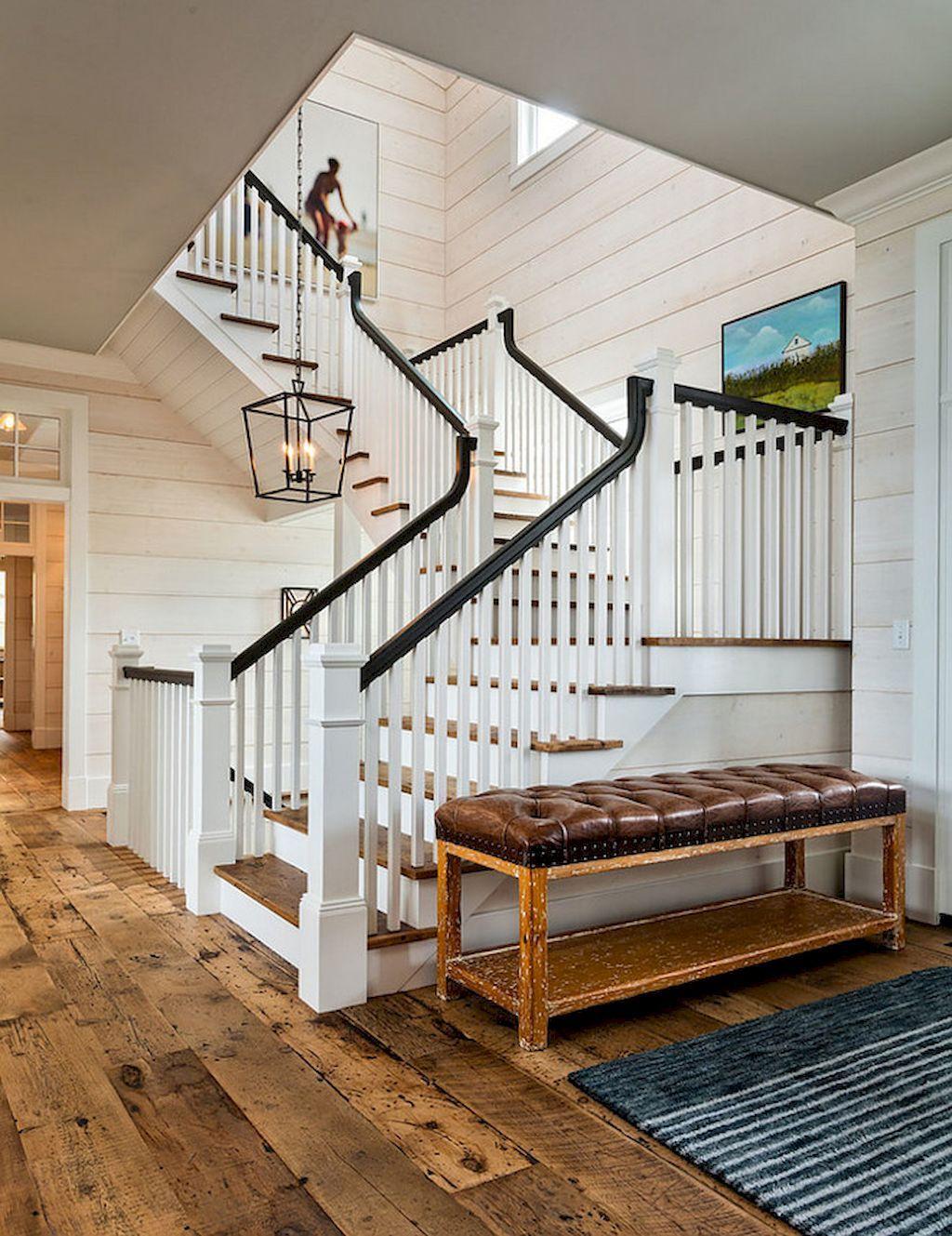 Best 80 Modern Farmhouse Staircase Decor Ideas 59 Staircase 400 x 300