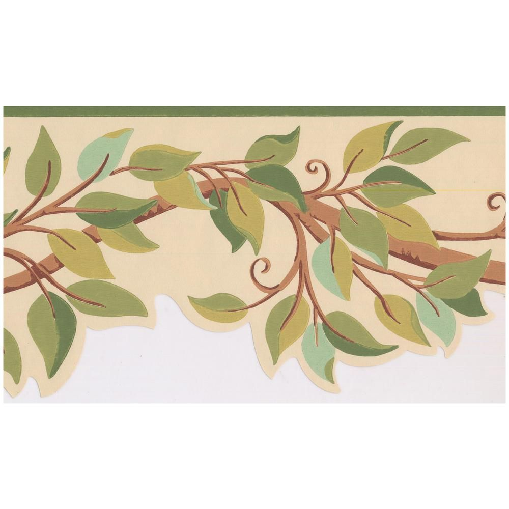 York Wallcoverings Green Teal Leaves on Tree Branch