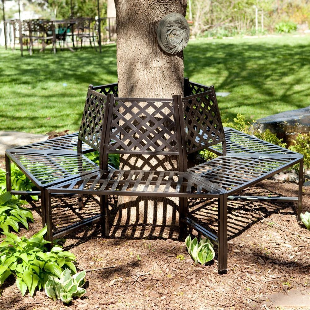 Wrought Iron Tree Wrap Bench Furniture Decor Outdoor Home Living
