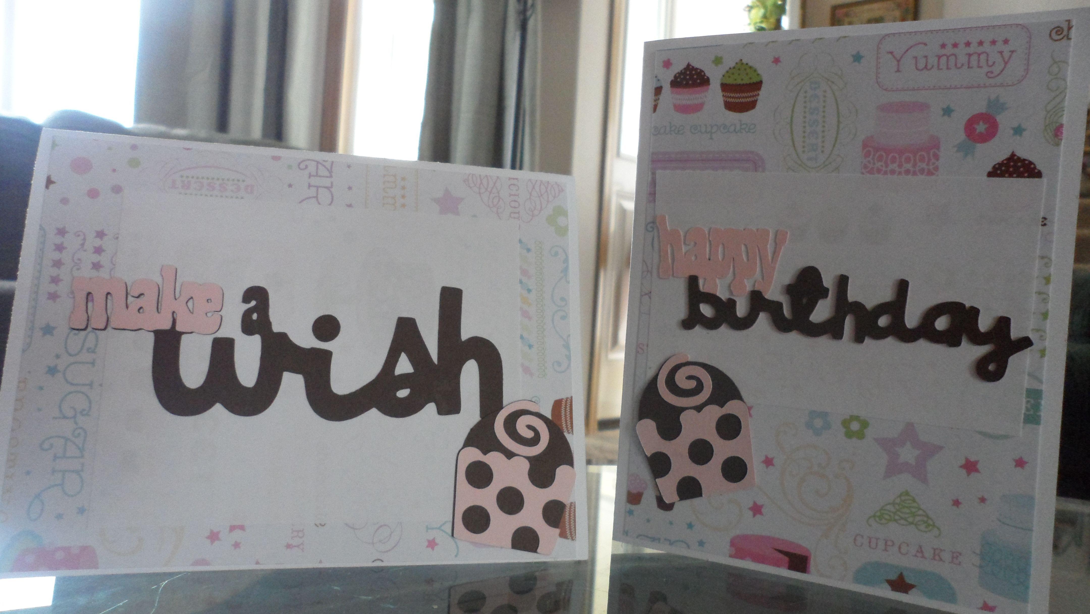 birthday cards i made with the cricut sweet treats