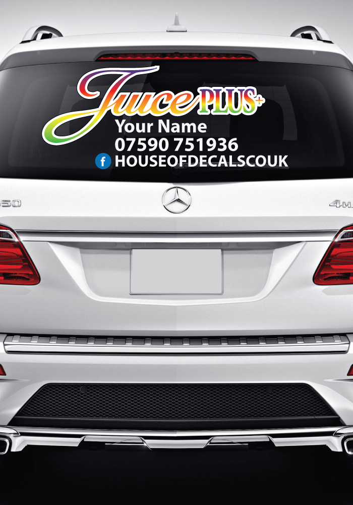 Custom jucie plus car window decal made to order product description applies directly to any smooth clean surface removable wont leave any marks