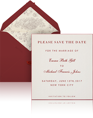 Online Wedding Save The Date Example Sending With White Envelope Burgundy Silk Lining And Beige
