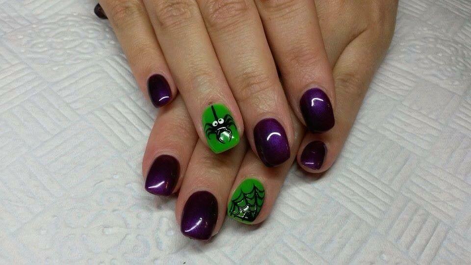Nailart Acrylicnails Gelnails Green Purple Halloween Spider Halloween Nail Designs Halloween Nails Holiday Nail Art