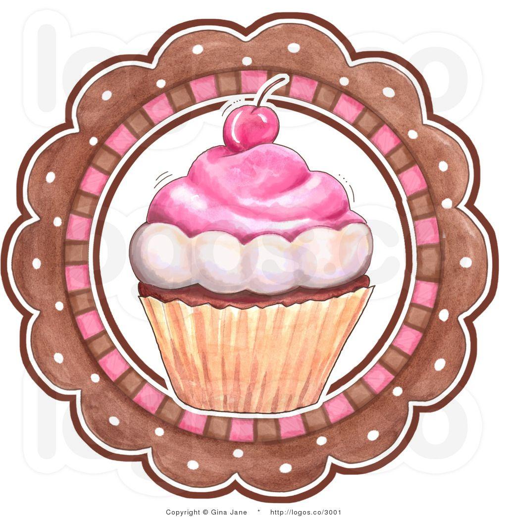Clip Art Bakery Cake : Royalty Free Vector Of A Cupcake And Circle Bakery Logo By ...