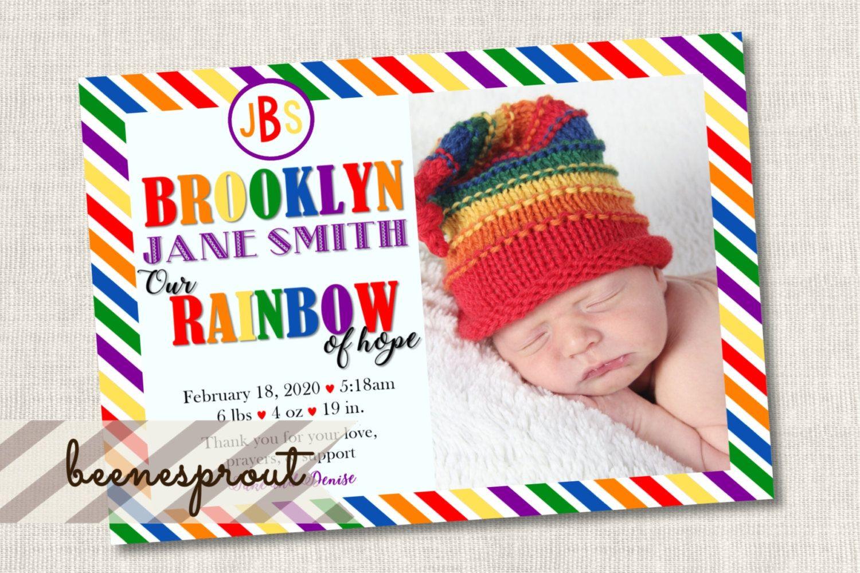 Rainbow Baby Birth Announcement Diagonal Stripes Rainbow of Hope