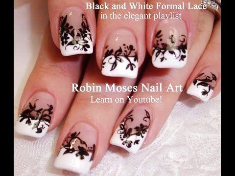 nail art design  diy  elegant black  white lace nail