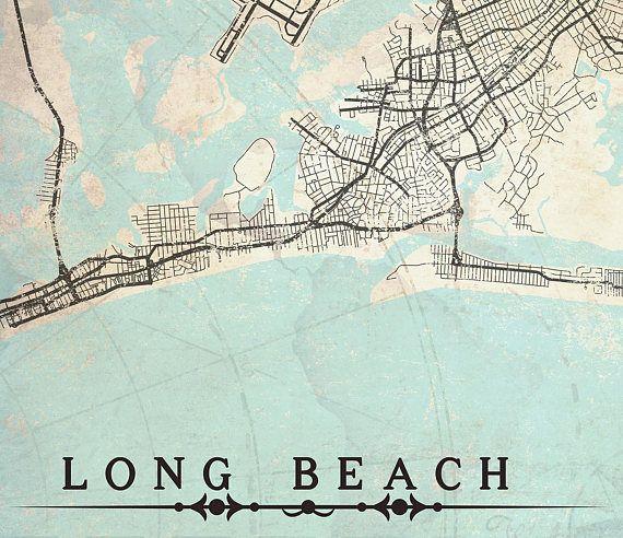 Long Beach Ny Canvas Print Vintage Map State New York City Ny S