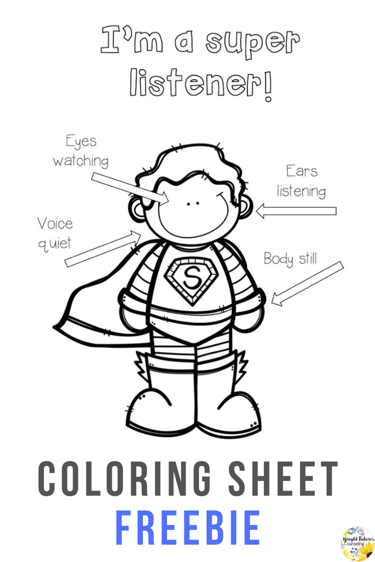 Super Listener Coloring Sheet Teach Students Active Listening Skil School Counseling Lessons Elementary School Counseling Lessons Elementary School Counseling