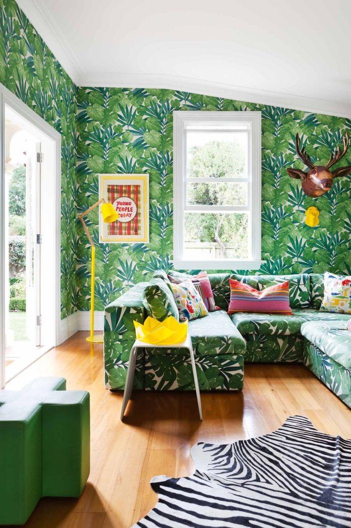 innendesign ideen wohnzimmer tapete floral zebra teppich - tapeten idee wohnzimmer