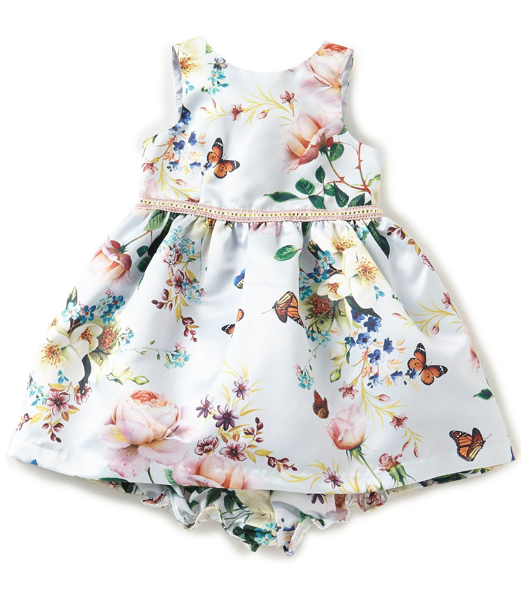 Pippa and Julie Baby Girls 1224 Months Satin FloralPrint Pleated