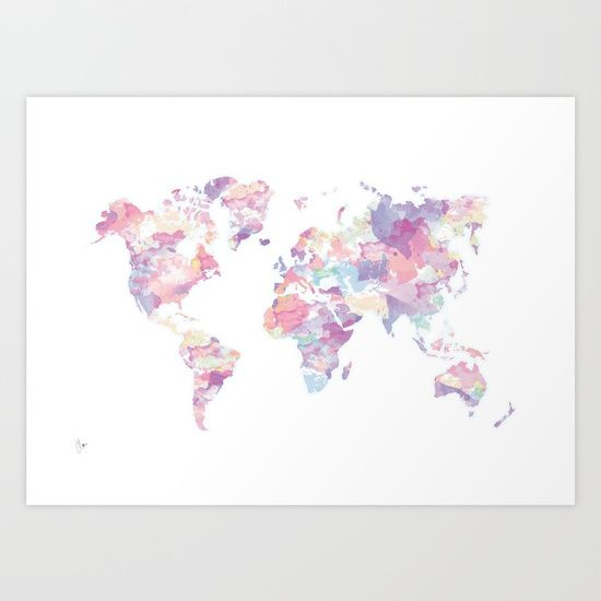 Watercolour world map purple art print by clover worldwide watercolour world map purple art print by clover worldwide shipping available at society6 just one of millions of high quality products available gumiabroncs Image collections
