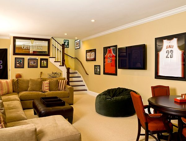 Framed Jerseys: From Sports-Themed Teen Bedrooms To Sophisticated Man  Caves! Framed JerseyBasement DesignsBasement ...