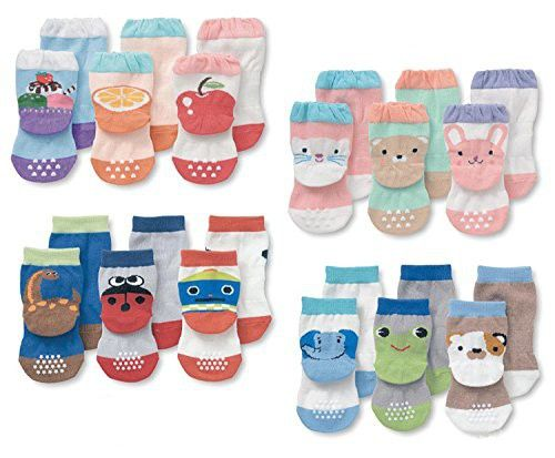 Luxehome Yr1603 Anti Slip Grip Soles Cartoon Baby Socks 12 Pairs