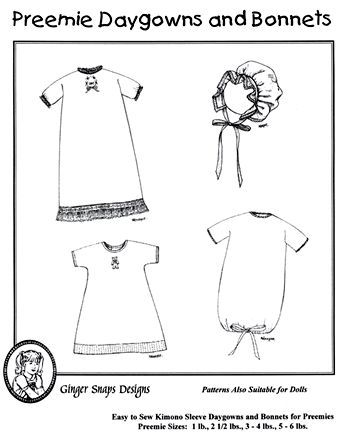 Preemie Daygowns and Bonnets to fit babies as small as 1 pound ...