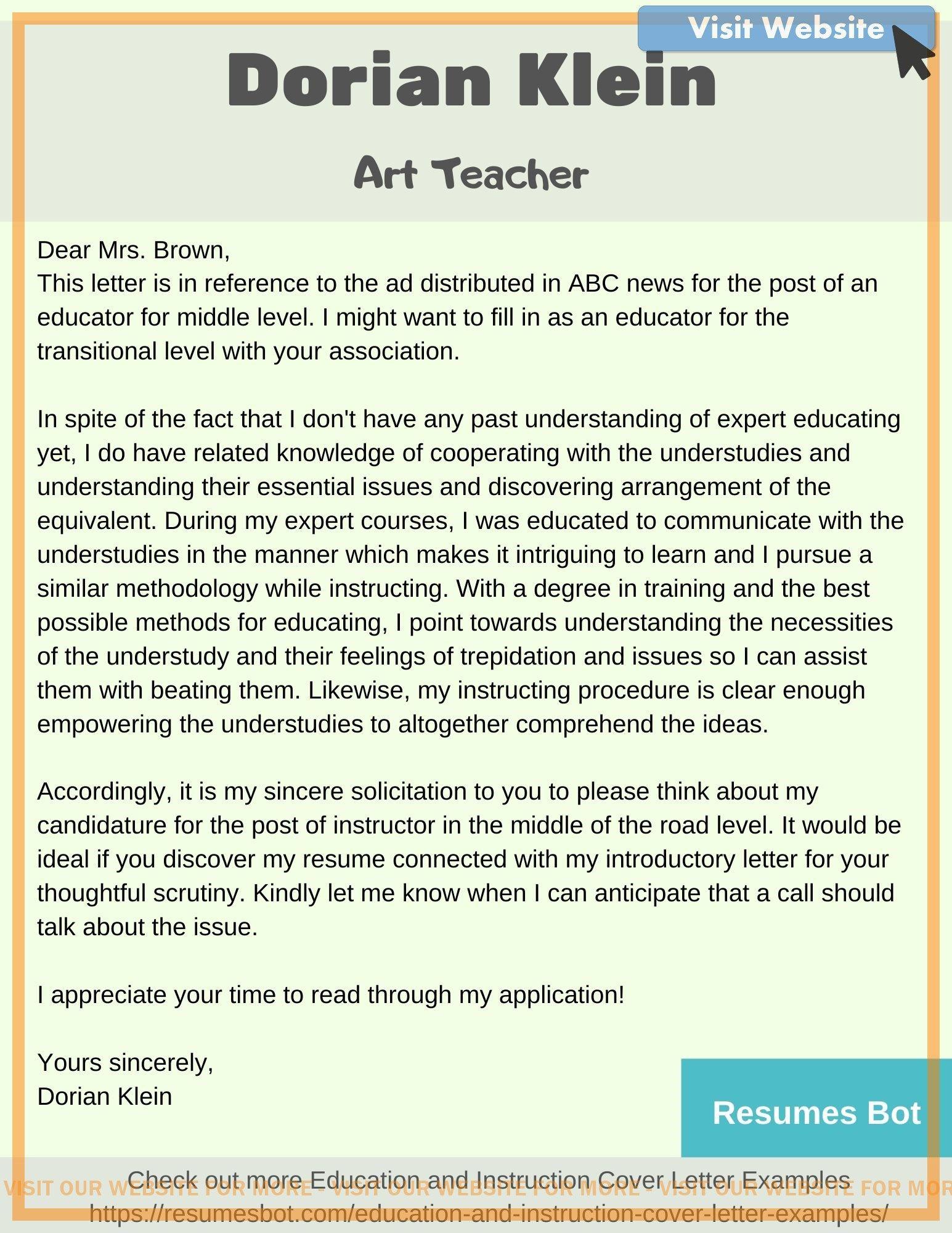 cover letter for school teacher application in 2020