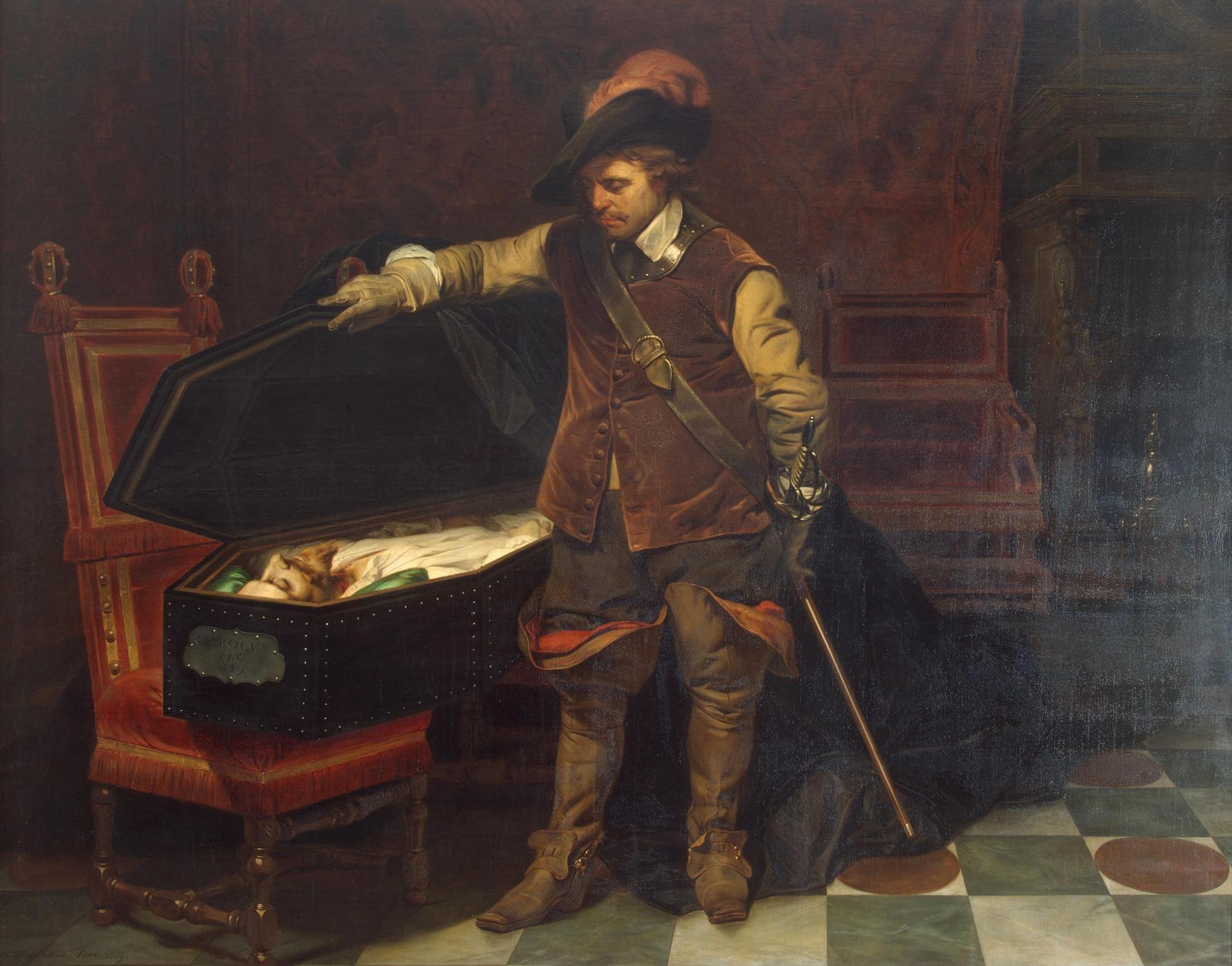 Paul Delaroche ~ Cromwell bij de doodskist van Karel I ~ 1849 ~ Olieverf op doek ~ 226 x 291 cm. ~ Hermitage, Sint Petersburg