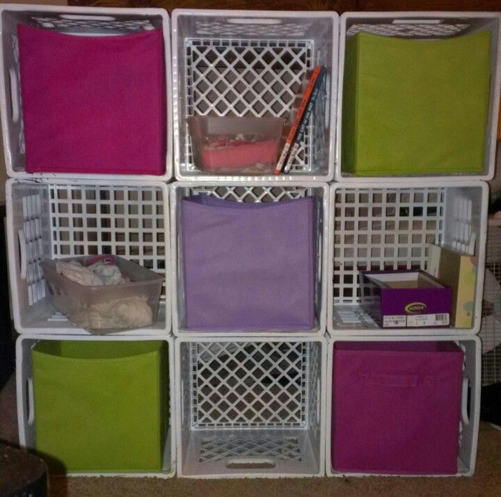 Diy Fabric Bin Storage Just Use Milk Crates Not The Ones You Buy At Wal Mart But The Actual 4 Gallon Milk Crate Storage Crate Shelves Diy Crate Shelves Kids