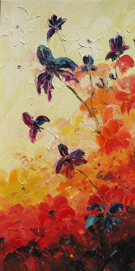 MOrning Irises 45 x 23 Original Oil Painting Palette Knife Purple Red Orange Flowers Field ART by Marchella $245