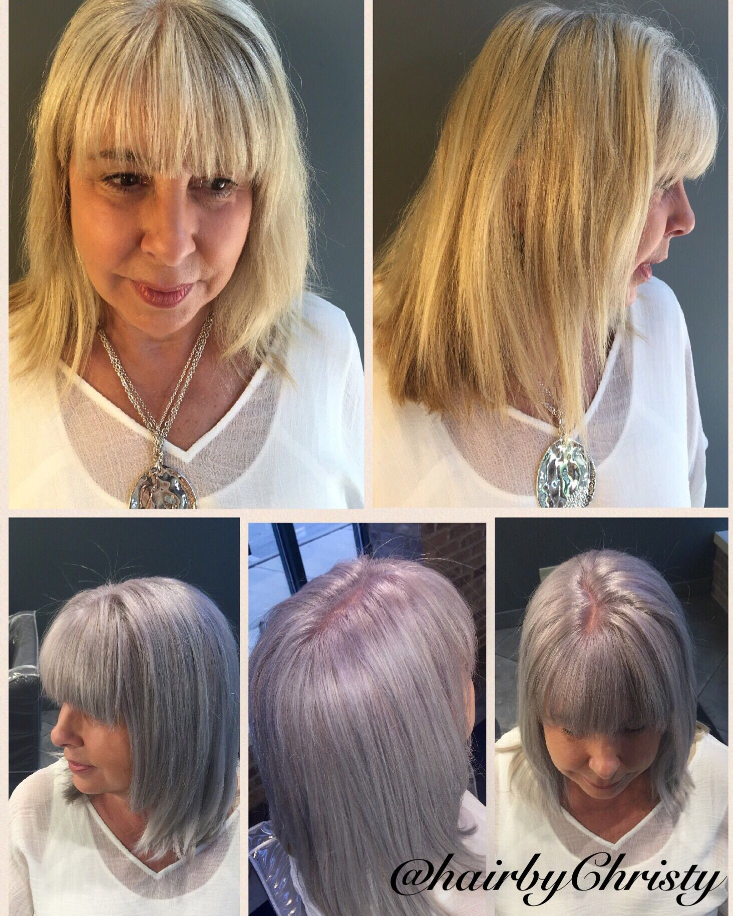 Before And After Going From Grown Out Blonde Hair To Gray Hair Guest Wanted To Make Life Easier Ha Aveda Hair Color Grown Out Blonde Hair Natural Gray Hair