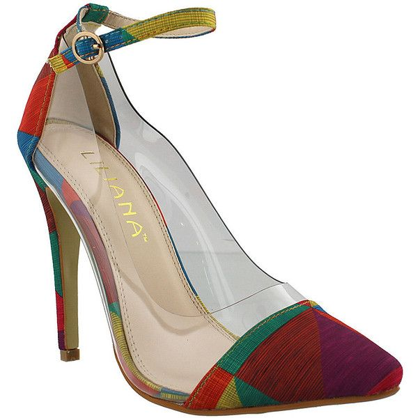 Liliana Footwear Rainbow Olga Pump ($20) ❤ liked on Polyvore featuring shoes, pumps, d'orsay pumps, dorsay pump, rainbow pumps, synthetic shoes and strappy high heel shoes