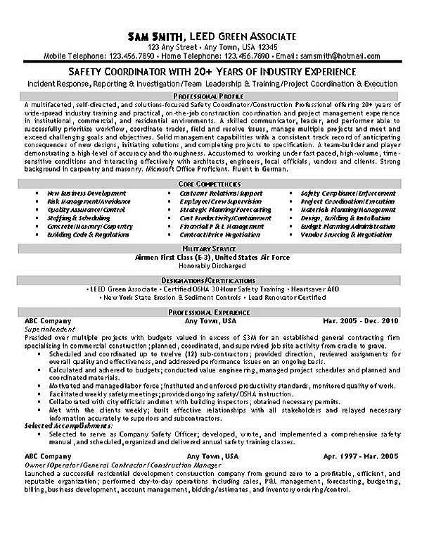 Safety Coordinator Resume Example Resume examples, Sample resume - construction resume objective examples