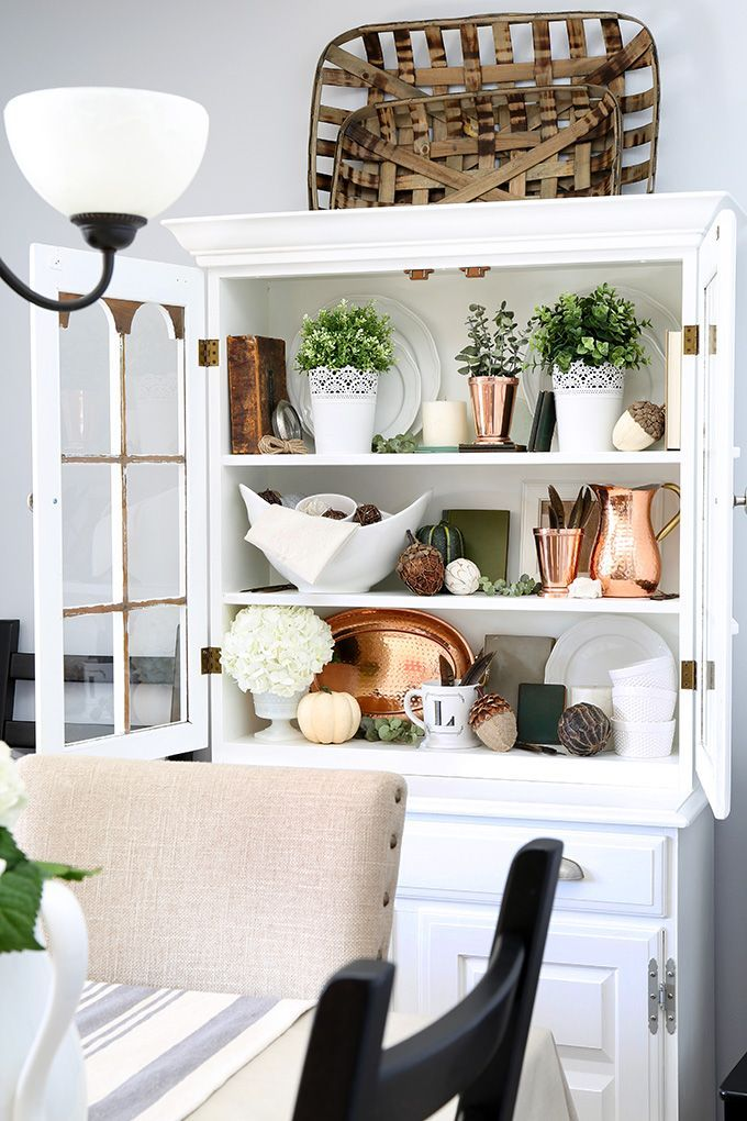 How to Style a Dining Room Hutch - Just a Girl and Her Blog ...