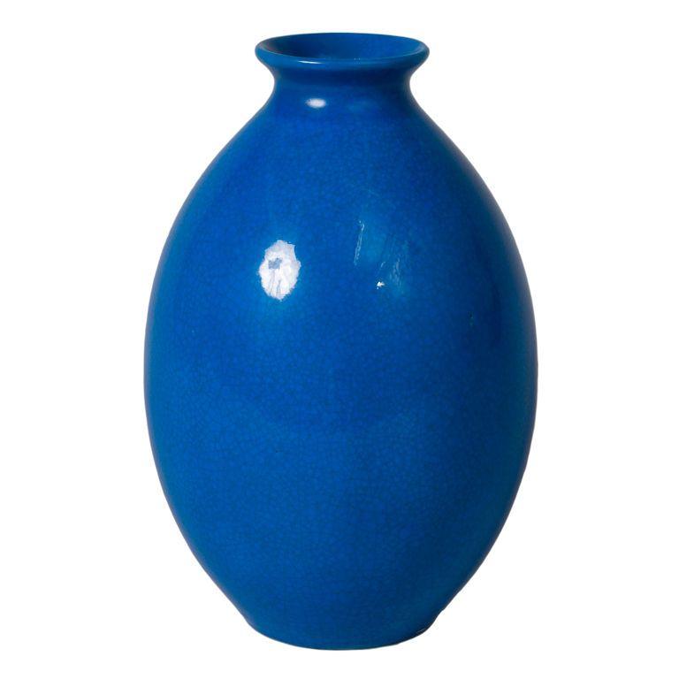 Tall Blue Crackle Glaze Ceramic Vase By Boch La Louviere Glazed