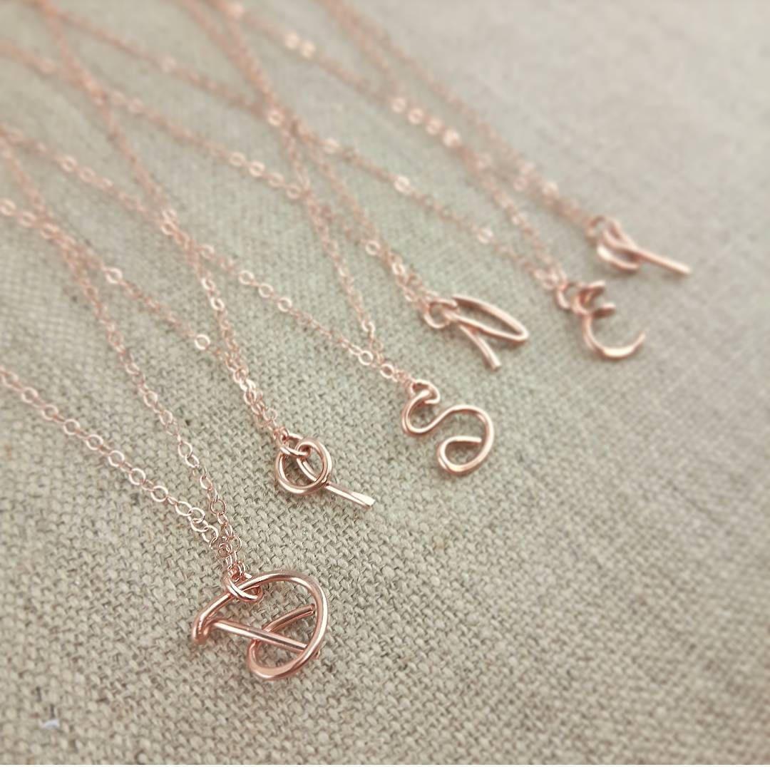 Disney Initial Necklace, Rose Gold Initial Pendant, Disney ...