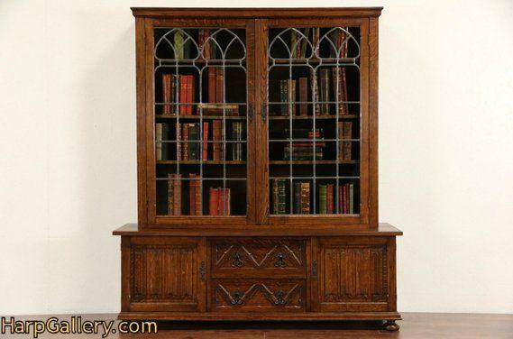 Dutch Renaissance Carved 1920s Vintage Oak Bookcase Leaded Glass