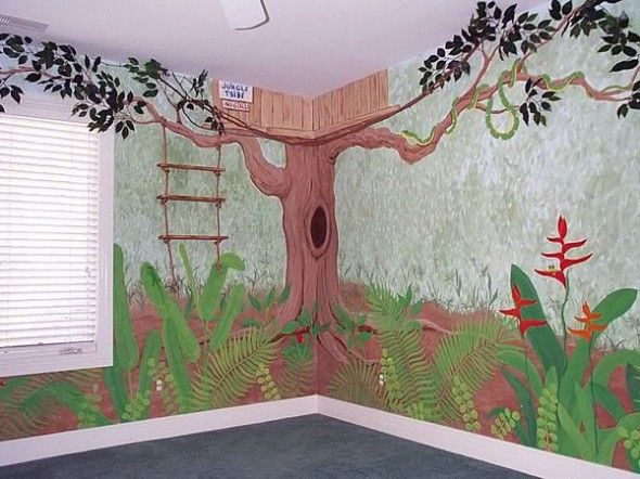 Savannah Jungle Wall Decoration For Kids Rooms: Tree House Wall ...