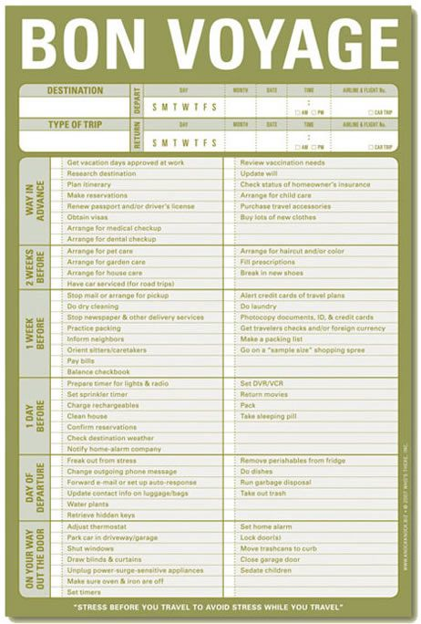 Printable Travel Checklist for Cruise This is a great tool to