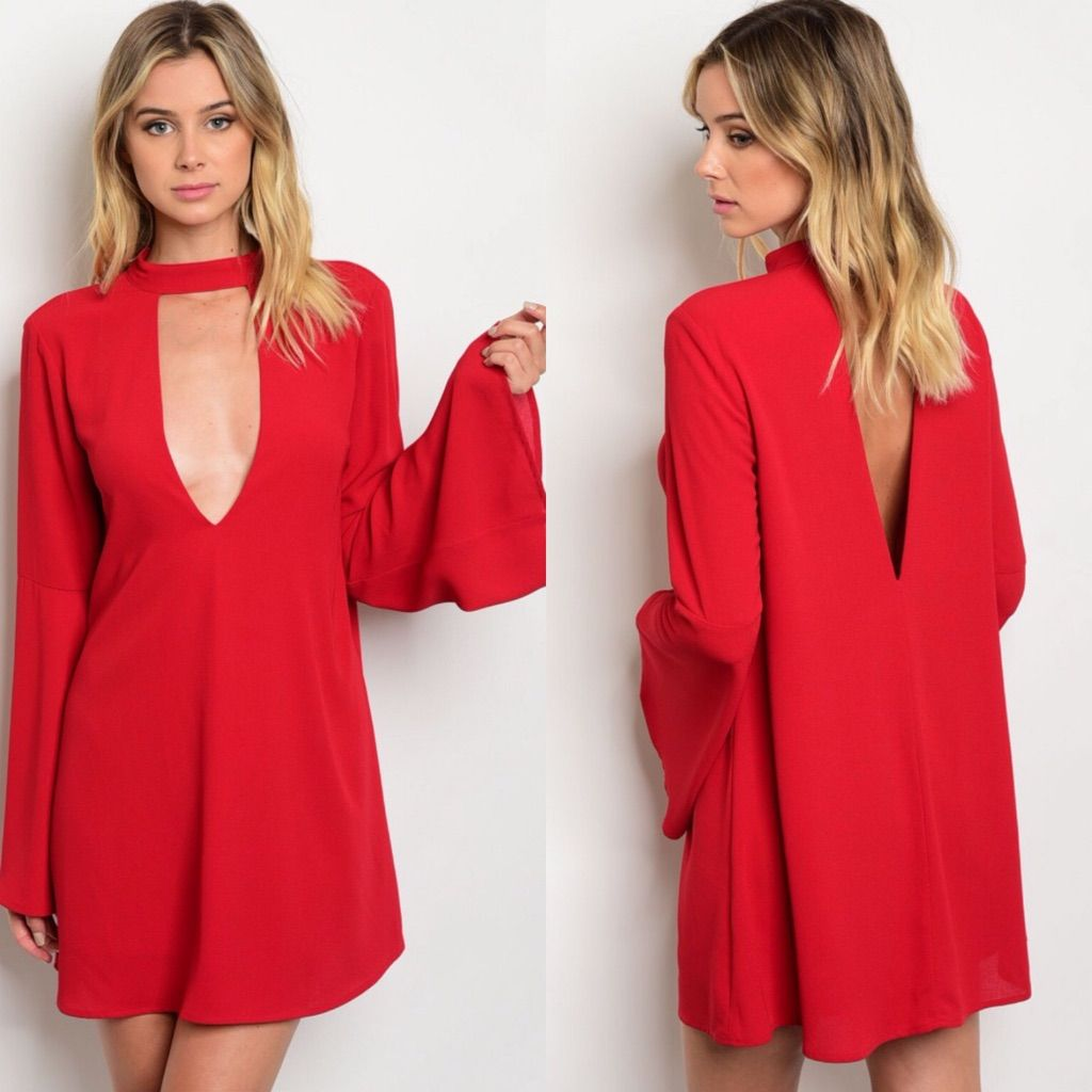 Red choker plunging neckline bell sleeves dress products