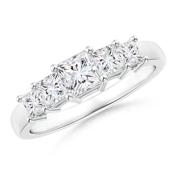 Angara Graduated Princess-Cut Diamond Five Stone Wedding Band uDeKXix