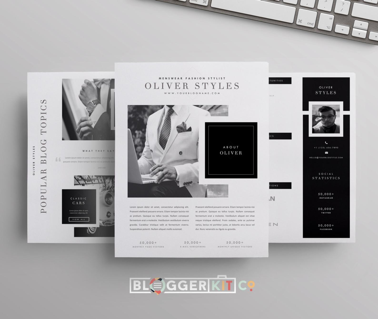Drei Seiten Media Kit Vorlage Drucken Sie Kit Vorlage Etsy Media Kit Template Blogger Media Kit Media Kit