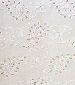 Warm Weather Apparel Fabric-White Paisley Eyelet