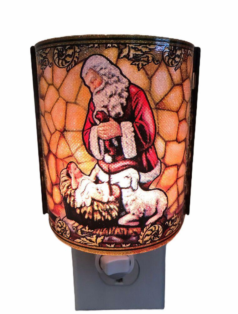 Round Rock Christmas Lights 2020 Night Light Kneeling Santa Baby Jesus And Sheep Christmas Roman