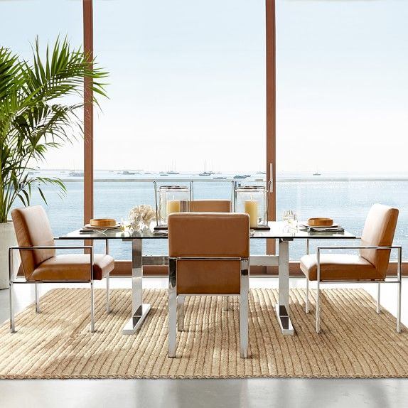 Mercer Dining Table With Glass Top Williams Sonoma Side Chairs Dining Dining Room Inspiration Rectangular Dining Table