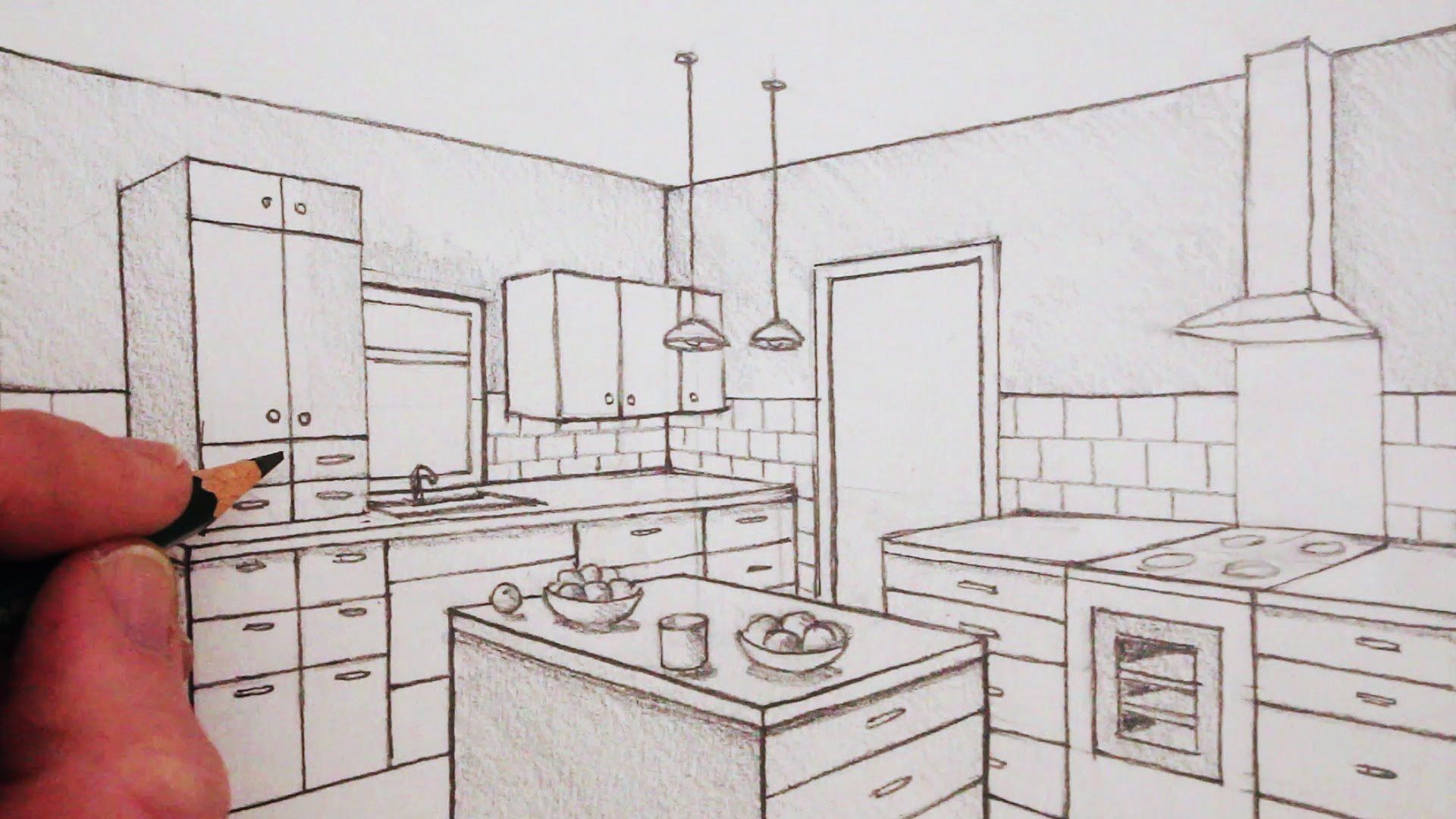 How to draw 2-point perspective in this time-lapse version ... How To Draw A Kitchen on draw floor plan kitchen, cartoon kitchen, easy simple drawings kitchen, draw your kitchen, draw my own kitchen, drawing black and white kitchen,
